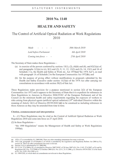 Control of Artificial Optical Radiation at Work Regulation 2010